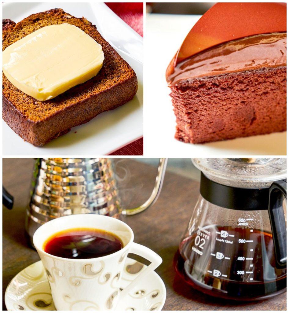 (左上)香蕉核桃蛋糕,甜而不膩,每一口洋溢著果香,與奶油相搭無違和。(右上)謎漾純情經典巧克力鏡面蛋糕,濕潤綿密的蛋糕體,有豐厚的層次感。(下)手沖咖啡精選20年烘豆師配合進貨的咖啡豆,行家指定。 |礙的萬物論